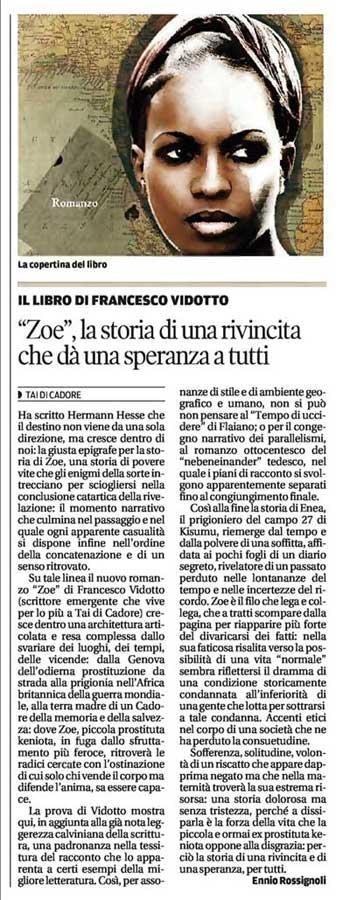 Corriere delle Alpi - gennaio 2013 - Zoe