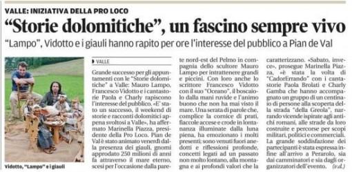 il Corriere delle Alpi - agosto 2014 - Oceano