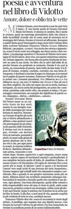 Il Corriere del Veneto - agosto 2014 - Oceano